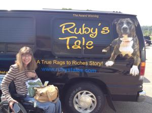 "A  happy ""Ruby Groupie"" discovered Ruby's van in a Barnes & Nobel parking lot."