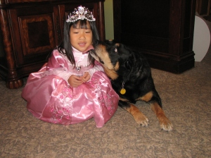 Carla the Rottie immediately took the roll of Nanny...Check on little Sadie seververal time a night or whenever she fussed. She was Sadie's shadow. heartbreakingly, Carla is in the last stages of her life...